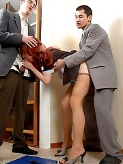 Spicy babe in flesh-colored pantyhose and her coworkers savoring cock-break