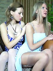 Upset cutie getting comforted with lesbian nylon sex in the billiard room