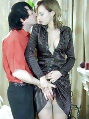Leggy chick in classy stockings treating her lover to a drunken nylon fuck