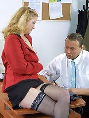 Bored secretary masturbates at her desk
