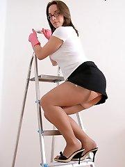 Up a ladder stocking upskirt