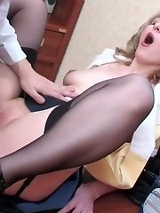 Lewd French maid stretching her ass cheeks for warm ass-screwing on table