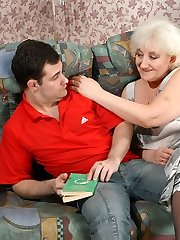 Chubby granny fondling her fleshy pantyhose clad pussy while giving blowjob
