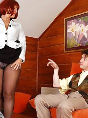 Sexy mature redhead trying on various hosiery before getting down and dirty