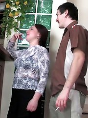 Naughty mature gal in tan tights going out of control in suck-n-fuck action