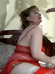 Raunchy mummy clad in red undies blows young meat before rough anal pounding