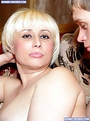 Awesome blonde wife cheats husband with two studs