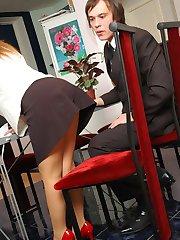 Raunchy mature secretary getting her sheer-to-waist pantyhose cum-covered