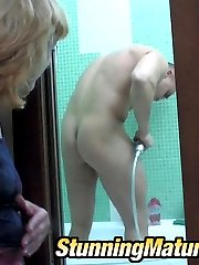 Curvy mature chick putting her ass in the air while fucking in the bathroom