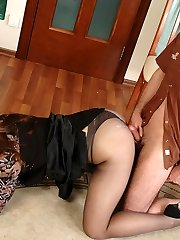 Seductive cougar in see-thru panties and scarcely black hose fucked and creamed