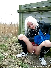 British girl pissing in the woods