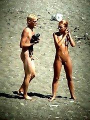 Spy cams film a sunny story of nude fun on a beach