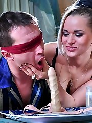 Blonde chick makes a blindfolded guy blow a fake cock and spread his cheeks