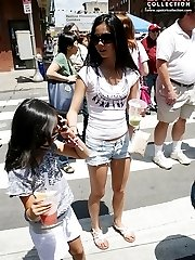 Tight hot pants in the summer city