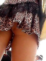 Orange-color panty upskirt