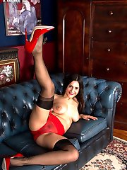 Introducing Estelle in full skirted dress and textured RHT nylons, we see her strip and...