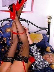 Lea Martini in red lingerie spreading pussy