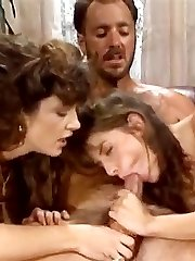 Bionca, Nikki Dial, Steve Drake in 80s porno girls finger each other's shaved vaginas