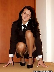 Lewd babes upskirt view looks great when they wear nylons