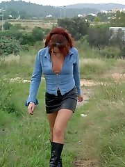 Ginger-haired fuckslut taking a hike to scratch her pussy itch!