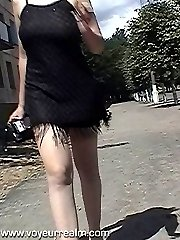 Outdoor summer upskirt panty voyeur shots