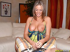 Beautiful hot big tits long leg college babe gets her perfect round tittys creamed after riding...