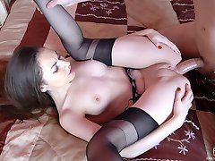 Lusty girl boasts her huge gaping asshole close-up after a butt-balling duo