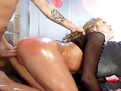 Maya Hills stuffs long fingers in her sweet butt