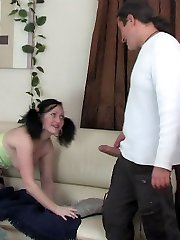 Tipsy young brunette getting licked and pussy pounded by a tricky old man