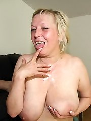 Mom in law gets his cock in her tight pussy and he plows her unceasing to cum hard