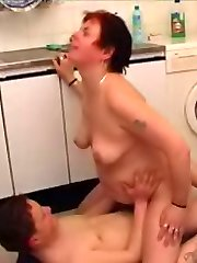 Kitchen mature pussy drilling frenzy