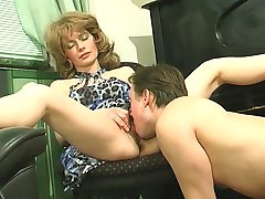 Sultry mom warming up her pussy while swallowing meaty cock down her throat