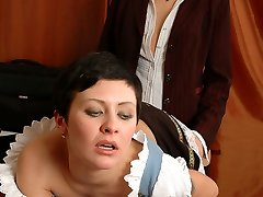 Mischievous French maid munching mature gal�s strap-on and tongue-grinding muff