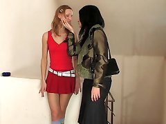 Upskirt cutie stripping naked before strap-on fucking an eager mature chick