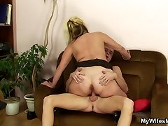 The blonde mature has a nice big ass and he just wants to grope it and fuck her deep