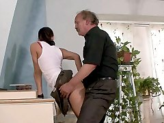 Horny old geezer got into the panties of his sons pretty slim slutty girlfriend