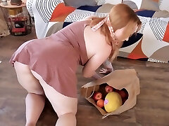 Appetizing stepmom showcasing her pussy and ass upskirt