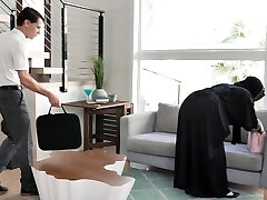 Sizzling big breasted hijab MILFie housewife Kylie Kingston is fucked doggy well