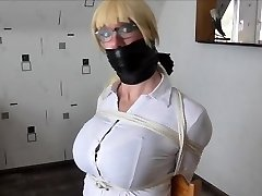 WSBP - Huge-chested Chick getting tied up and gagged!