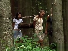 Two Youthfull Girls With A Slave Huntress In Fresh Home