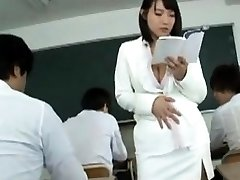 Buxomy Japan milf sauna lady in uniform handjob lesson