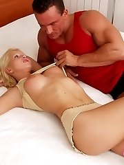 Sexual blonde babe gets skinny bootie poked and divine tits creamed