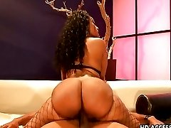 Ebony hottie with big ass riding cock like