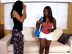 Two ebony girls tongue each others pussies
