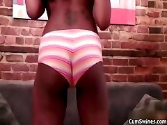 Hot ebony babe gets horny stripping part1