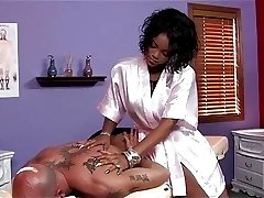 Big tit ebony masseuse tug therapy