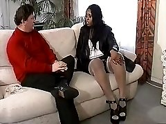 Ebony gal and white guy talk about fucking and then they do it