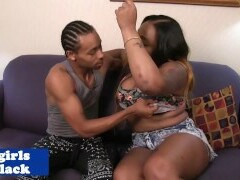 BBW black she-male doggystyled buttfucked