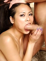 Naughty Japanese Nyomi Zen rides James Deen on the couch and urges him to fuck her cock-squeezing donk