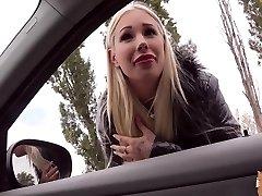 Pretty cock crazed platinum-blonde slut Kyra Hot blows off a huge gigantic dick